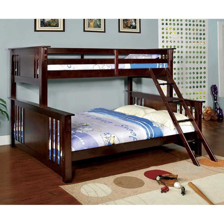 Furniture of America Spring Creek Dark Walnut Twin Over Queen Bunk Bed