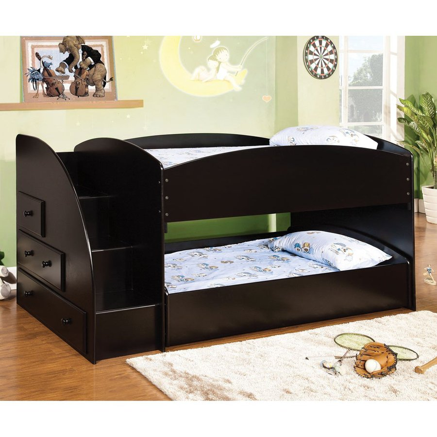Details About White 3 Piece Storage Drawers Twin Bed Box: Shop Furniture Of America Merritt Black Twin Over Twin