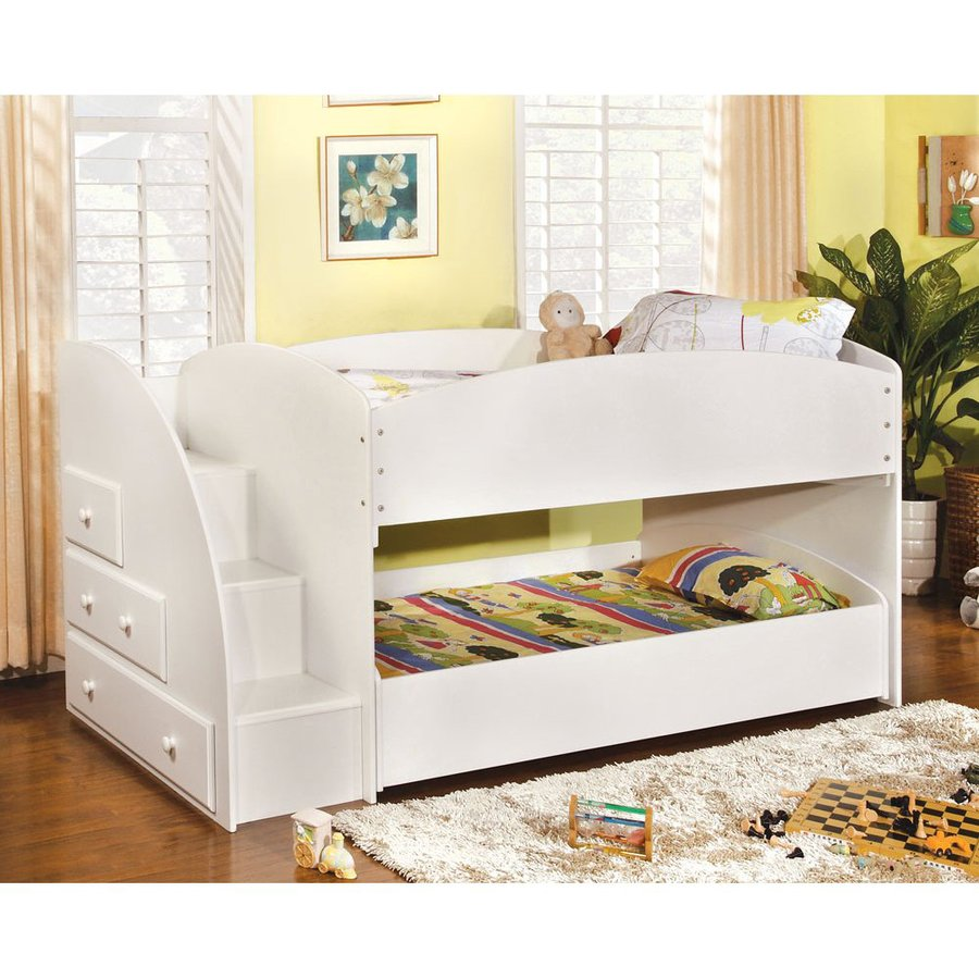 Details About White 3 Piece Storage Drawers Twin Bed Box: Shop Furniture Of America Merritt White Twin Over Twin