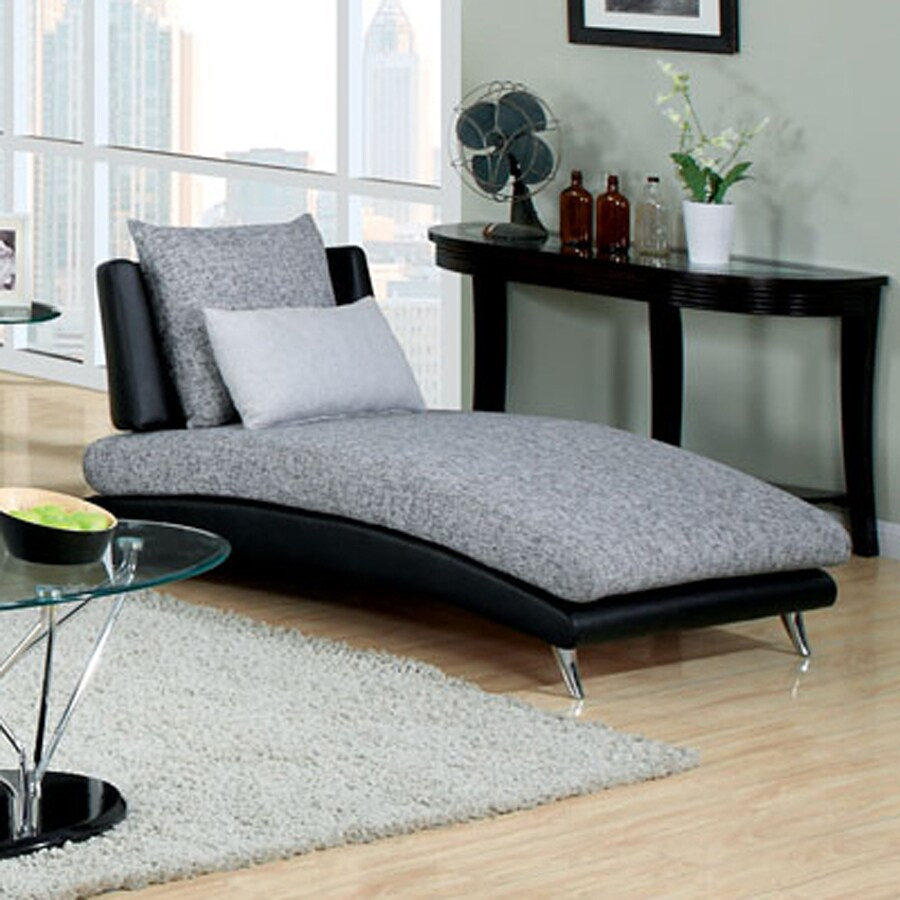 Furniture of America Saillon Modern Gray/Black Faux Leather Chaise Lounges