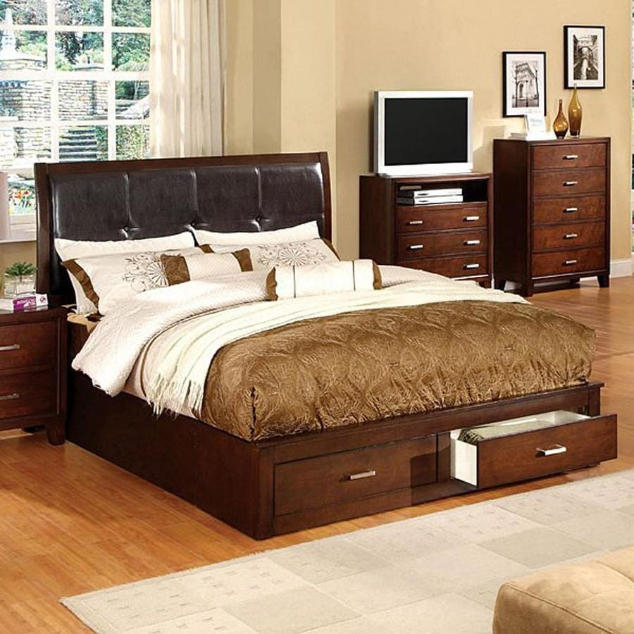 shop furniture of america enrico brown cherry king bed with storage at. Black Bedroom Furniture Sets. Home Design Ideas