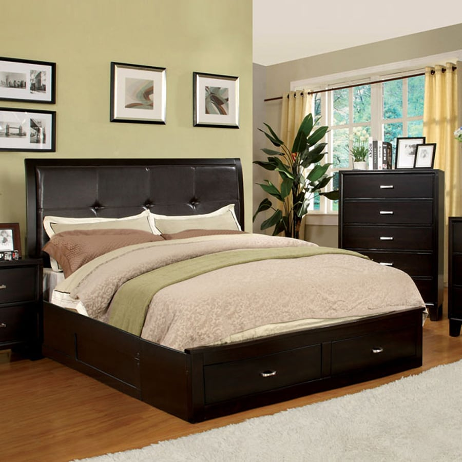 shop beds at lowes com furniture of america enrico espresso platform bed with storage