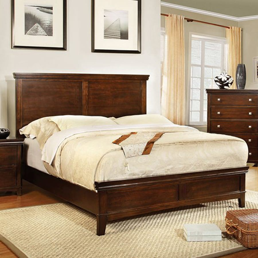 Furniture of America Spruce Brown Cherry King Low Profile Bed at