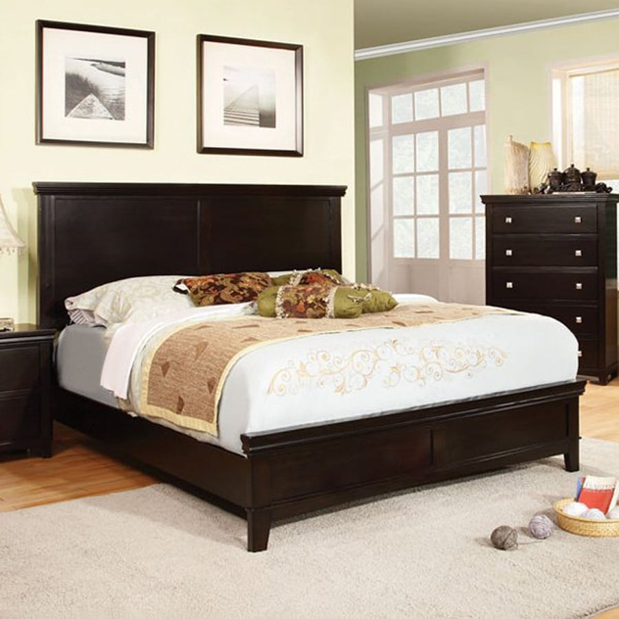Shop furniture of america spruce espresso california king for Cal king bed size