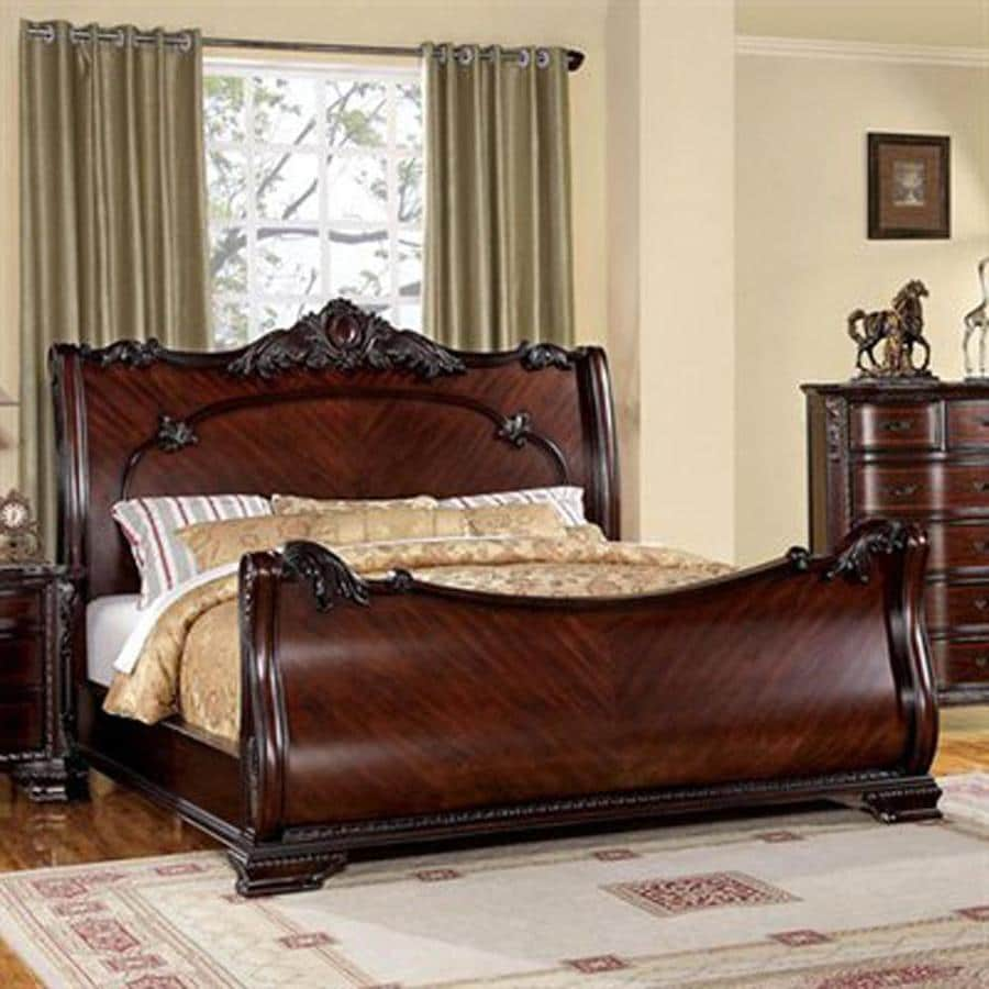 Bedroom colors with brown furniture - Furniture Of America Bellefonte Brown Cherry King Sleigh Bed