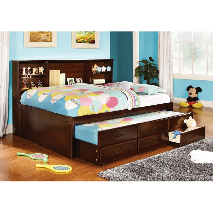 Shop furniture of america hardin cherry platform bed at for Furniture and beds