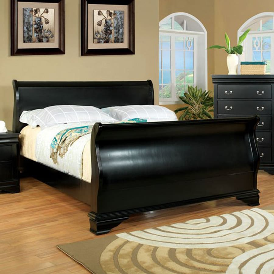 Shop furniture of america laurelle black sleigh bed at for Furniture of america