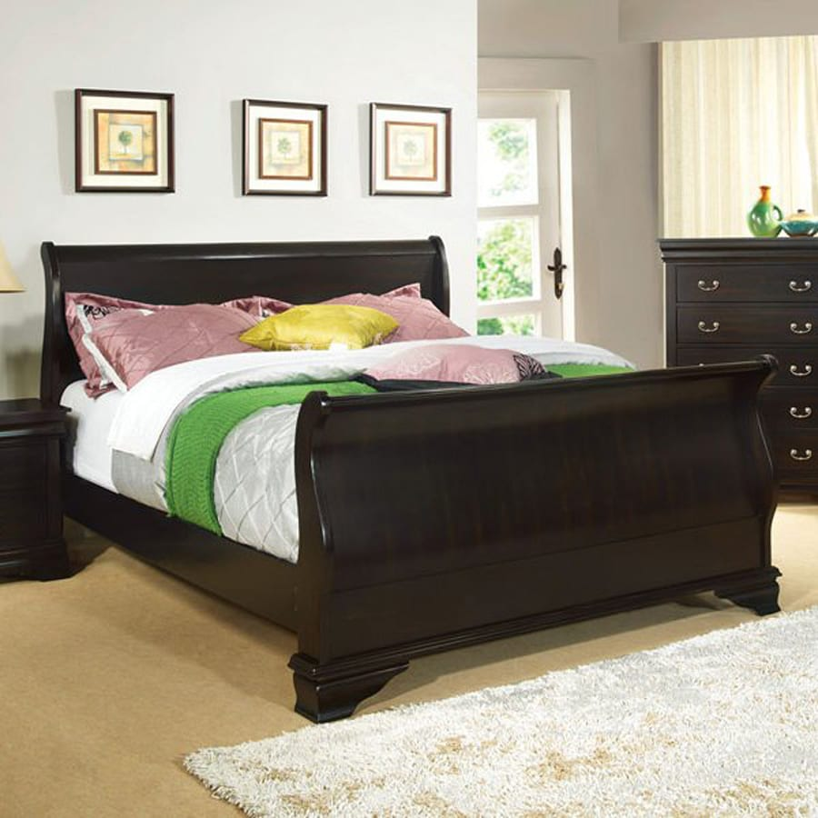 Shop furniture of america laurelle espresso king sleigh for Furniture of america