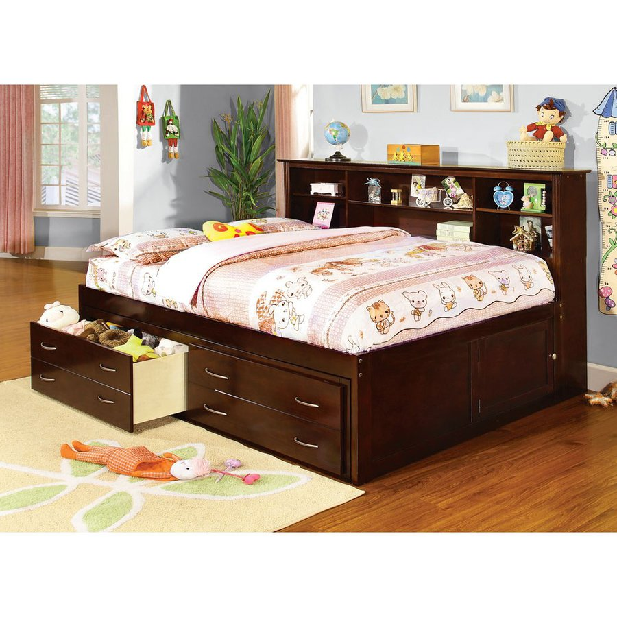 Shop furniture of america hervey espresso full captains Captains bed full