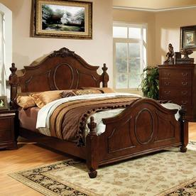 furniture of america velda warm cherry california king low profile bed
