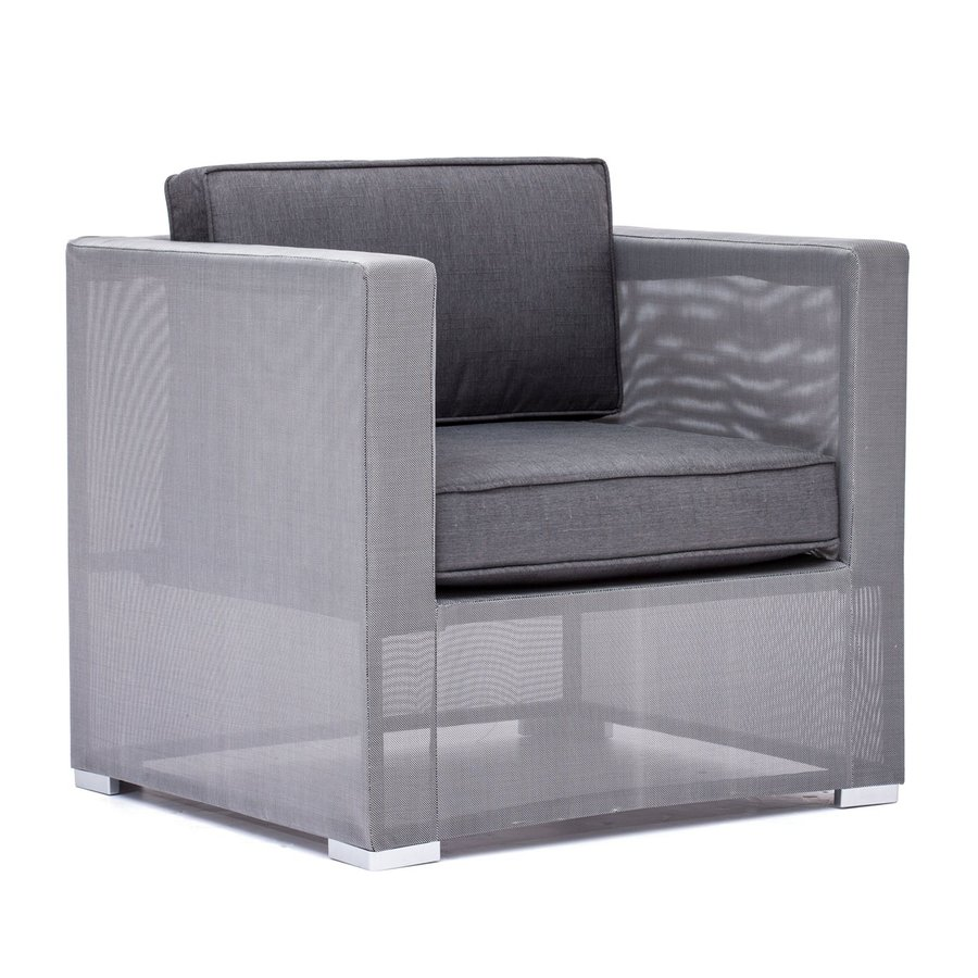 Zuo Modern One Gray Extruded Aluminum Cushioned Clear Water Bay Patio Chair