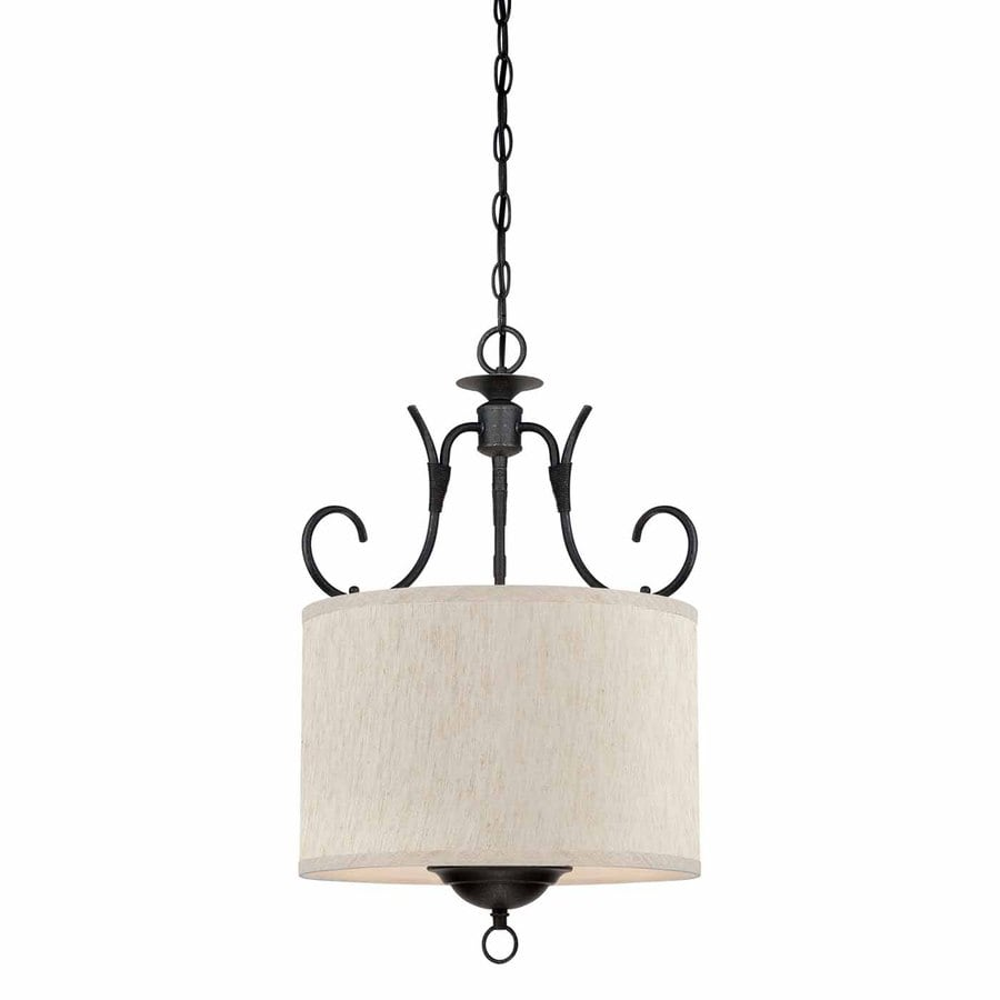 Volume International Fairfield 15-in Antique Iron Country Cottage Single Drum Pendant