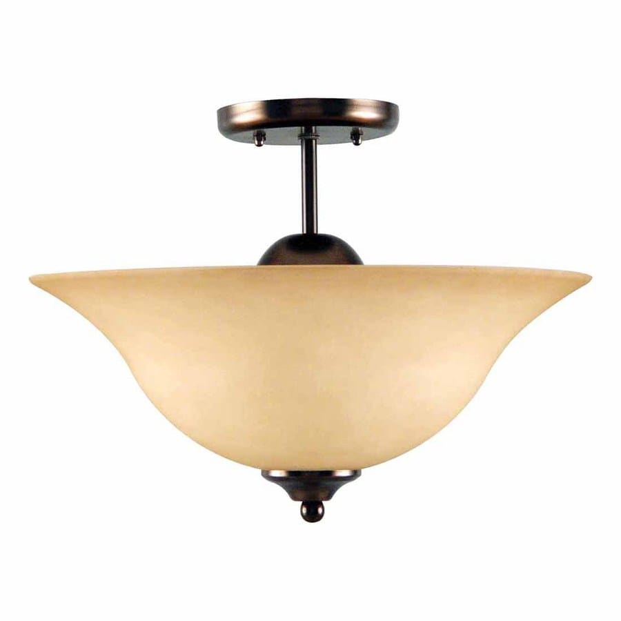 Volume International Minster 16-in W Antique Bronze Tea-Stained Glass Semi-Flush Mount Light