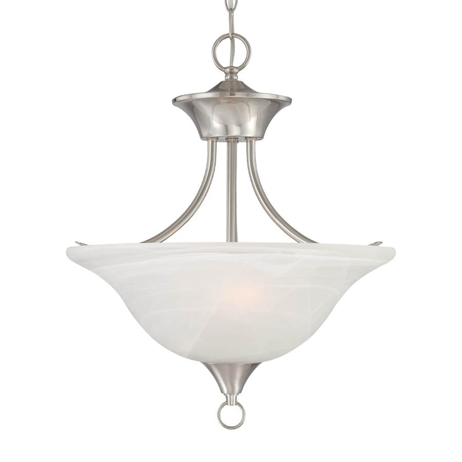 Volume International Trinidad 16.25-in Brushed Nickel Vintage Single Alabaster Glass Bowl Pendant