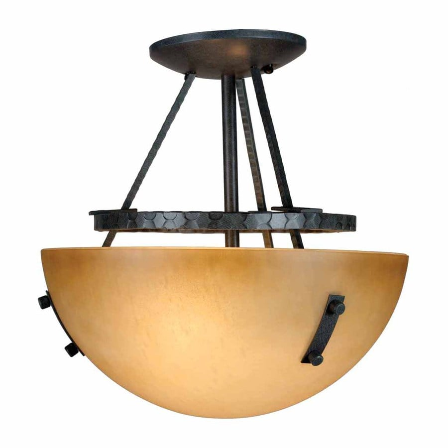 Volume International Lodge 11.75-in W Frontier iron Tea-stained Glass Semi-Flush Mount Light