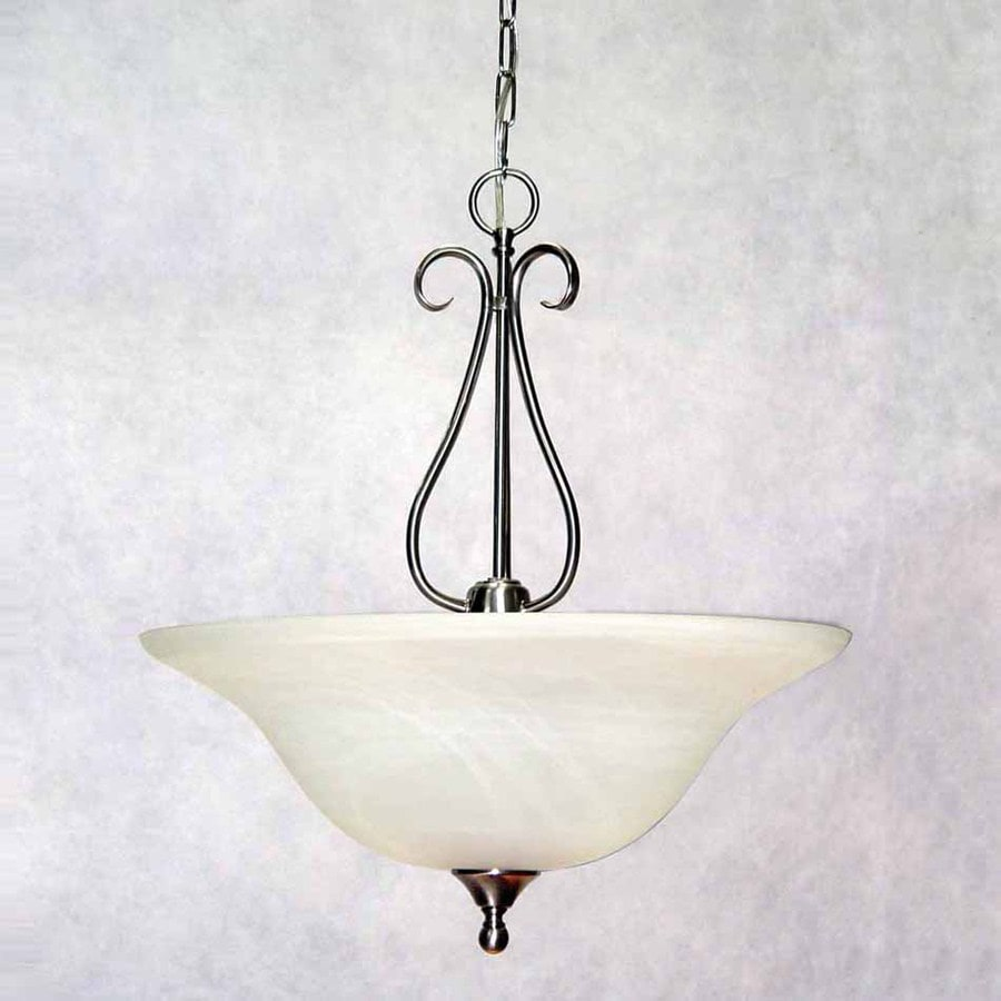 Volume International Minster 20-in Brushed Nickel Mediterranean Single Alabaster Glass Bowl Pendant