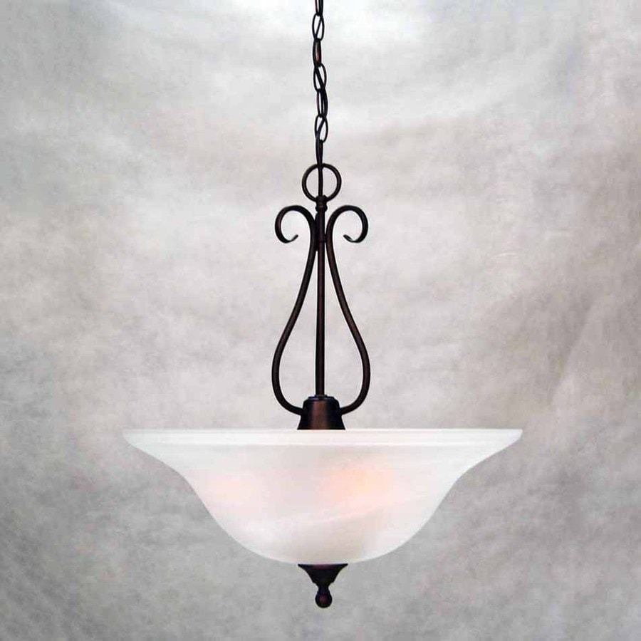 Volume International Minster 20-in Antique Bronze Mediterranean Single Alabaster Glass Bowl Pendant