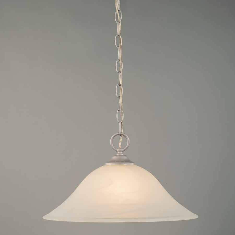 Volume International Hammond 15.25-in Brushed Nickel Single Alabaster Glass Bell Pendant
