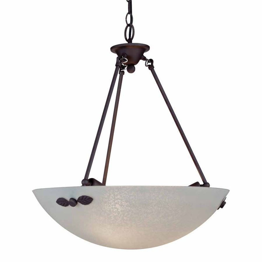 Volume International 19.5-in Antique Bronze Mediterranean Single Textured Glass Bowl Pendant