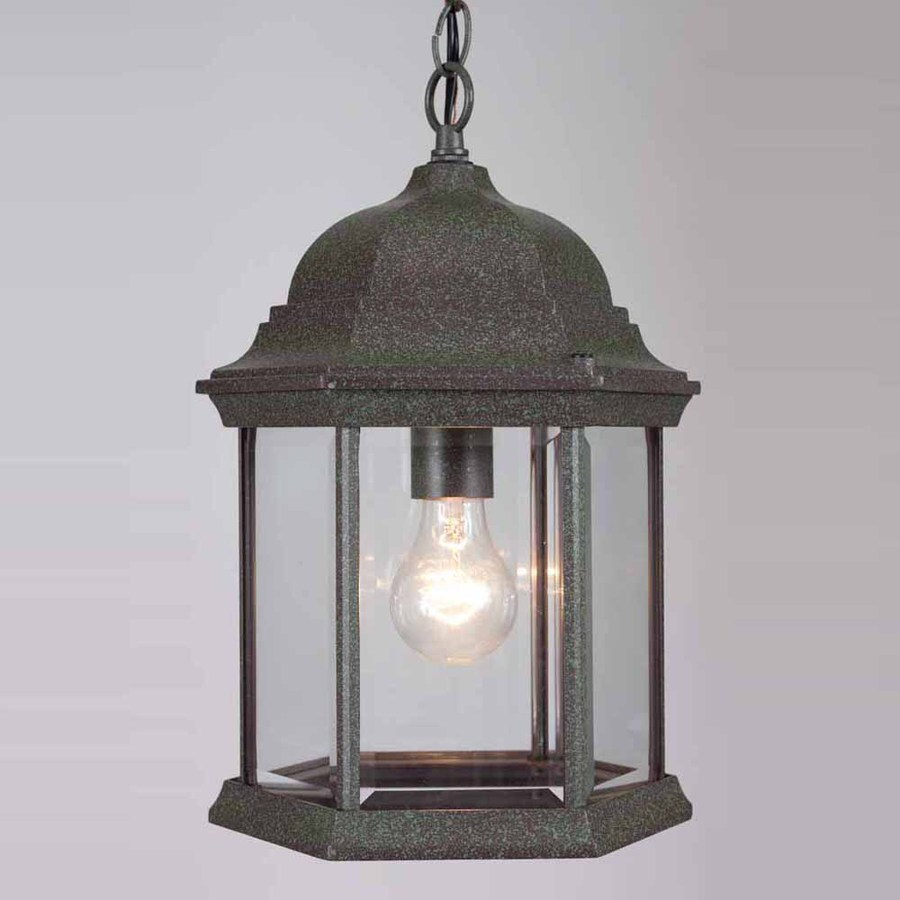 Volume International 14.75-in Mottled Verde Green Outdoor Pendant Light