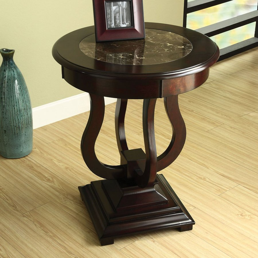 Furniture Of America Albany Dark Cherry Round Marble Top End Table In The End Tables Department At Lowes Com