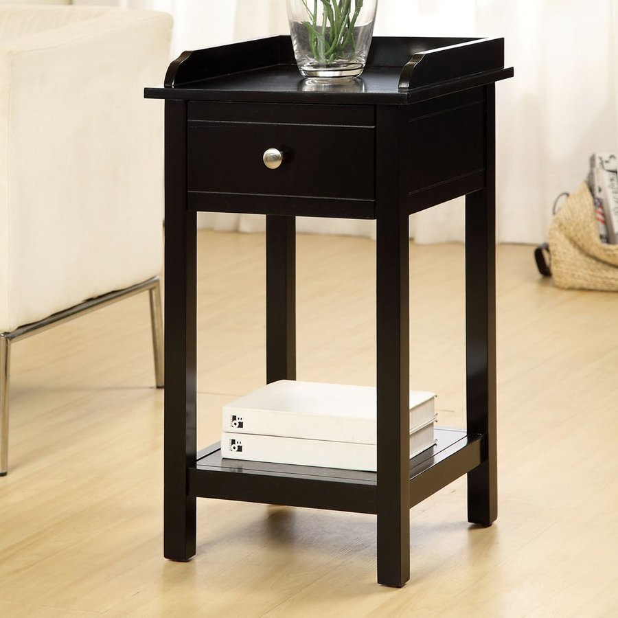 Furniture of America Voula Black Square End Table