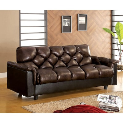 Furniture Of America Bowie Dark Brown Faux Leather Futon At