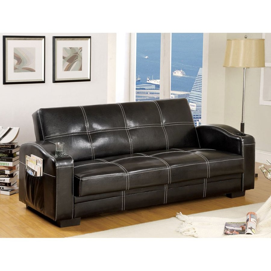 Shop furniture of america colona black faux leather futon for Furniture of america