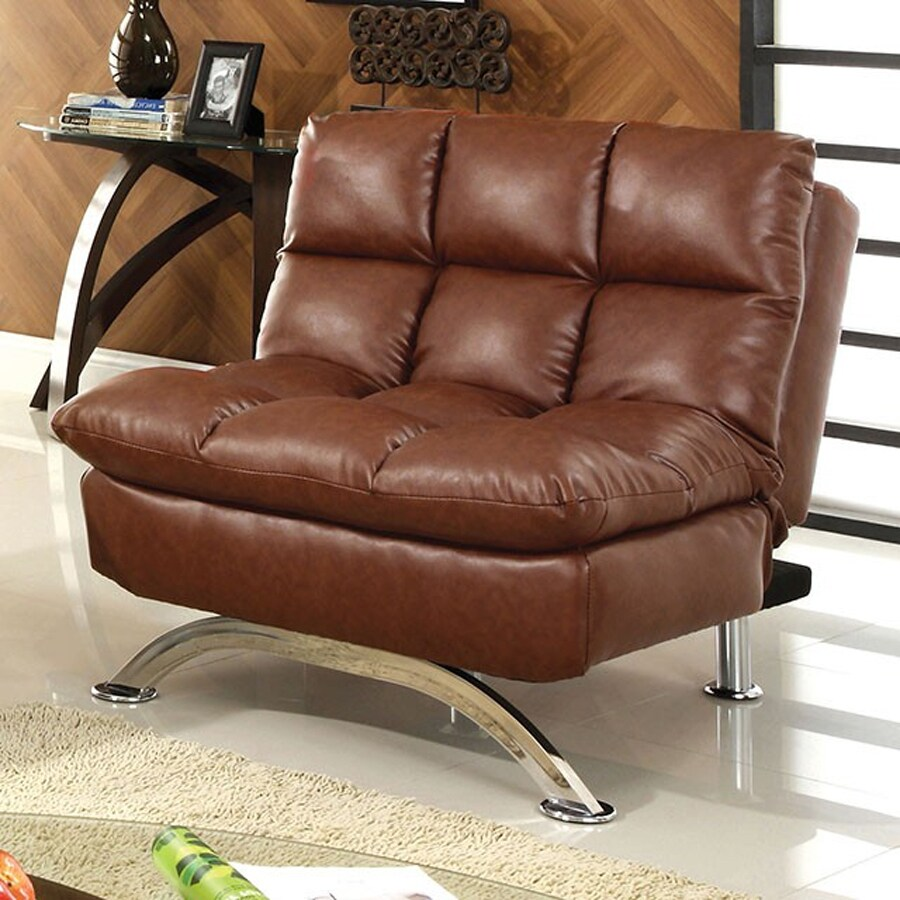 Furniture of America Aristo Saddle Brown Faux Leather Futon