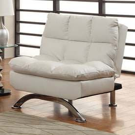 furniture of america aristo white faux leather futon shop futons  u0026 sofa beds at lowes    rh   lowes