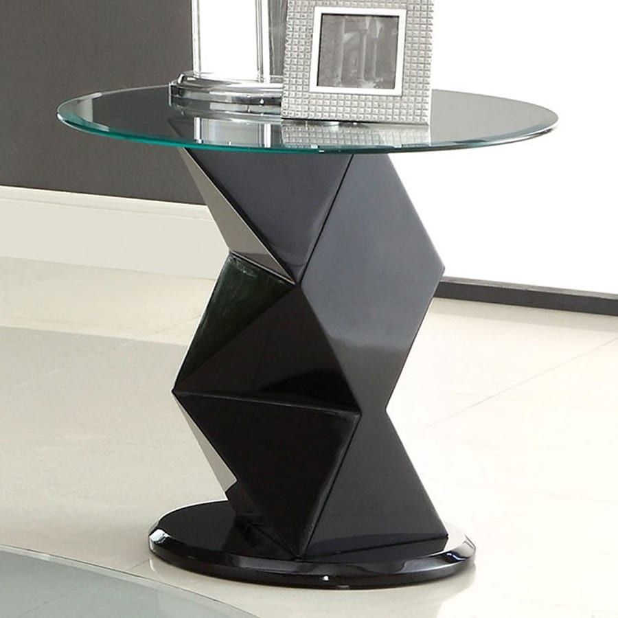 Furniture of America Halawa Black Round End Table