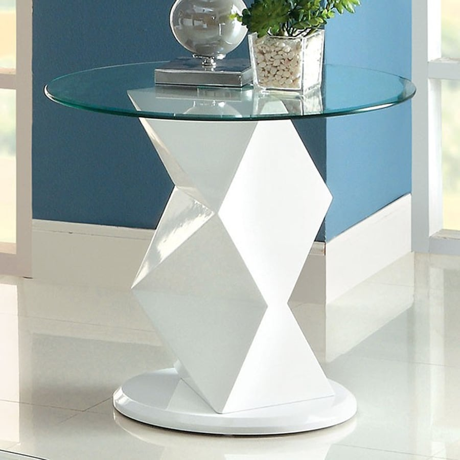 Furniture of America Halawa White Round End Table