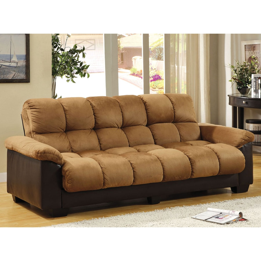 Shop furniture of america brantford camel espresso for Sofa bed futon