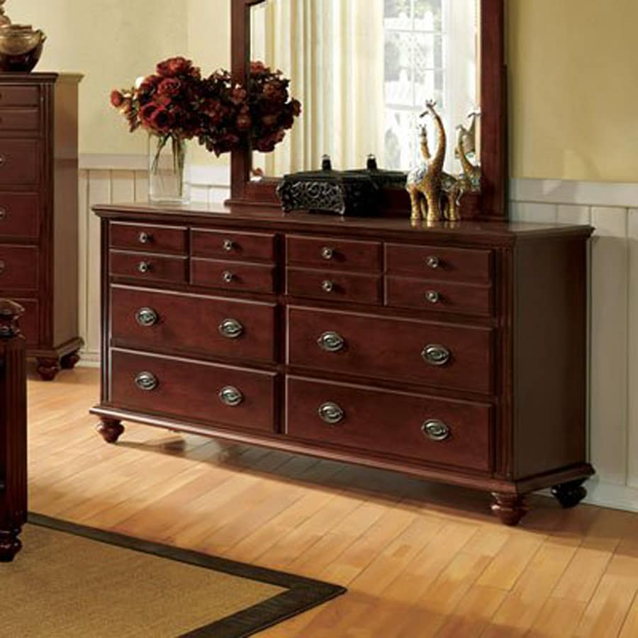 Shop Furniture Of America Gabrielle Cherry 6 Drawer Dresser At Lowes Com