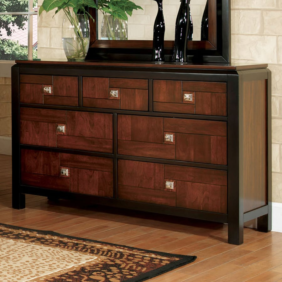 Shop furniture of america patra walnut 7 drawer dresser at for American black walnut bedroom furniture