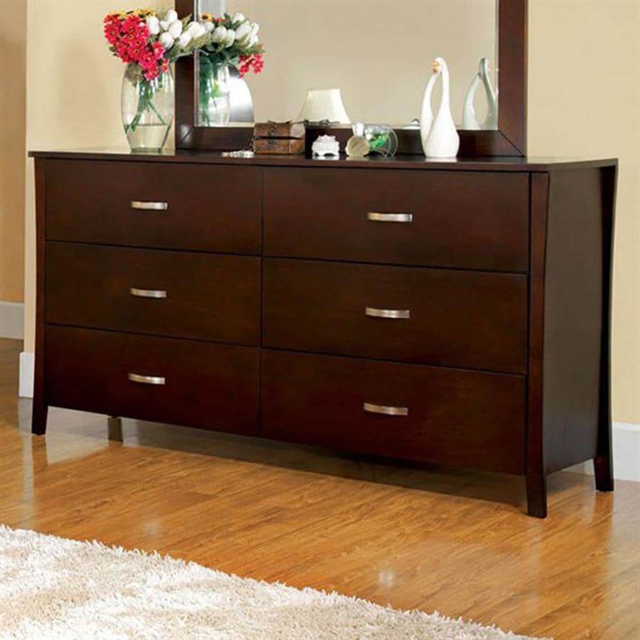 Shop furniture of america midland brown cherry 6 drawer for Cherry furniture