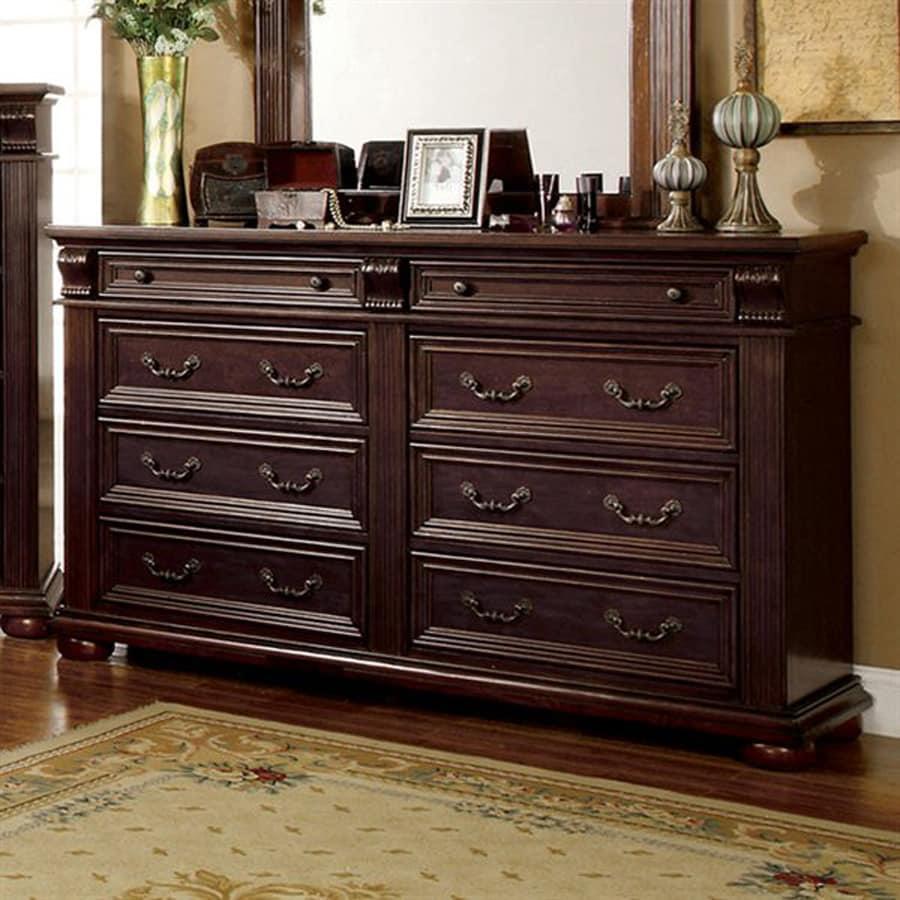 Furniture Of America Esperia Brown Cherry 8 Drawer Dresser
