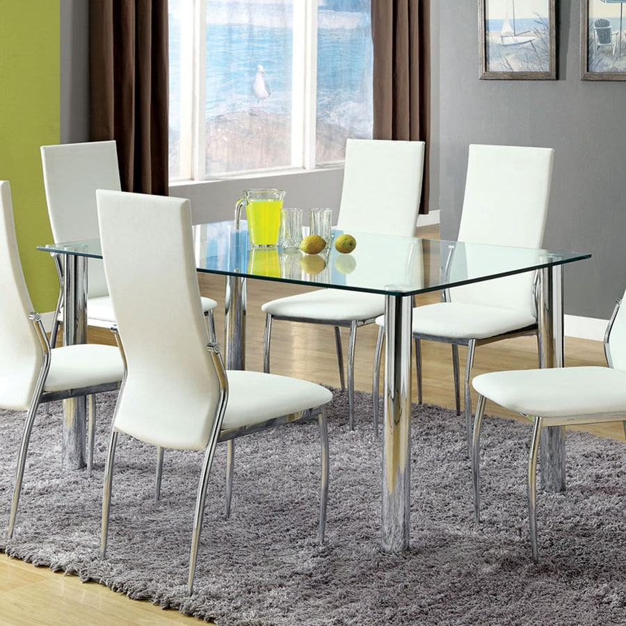 Shop furniture of america kalawao tempered glass dining for Tempered glass dining table