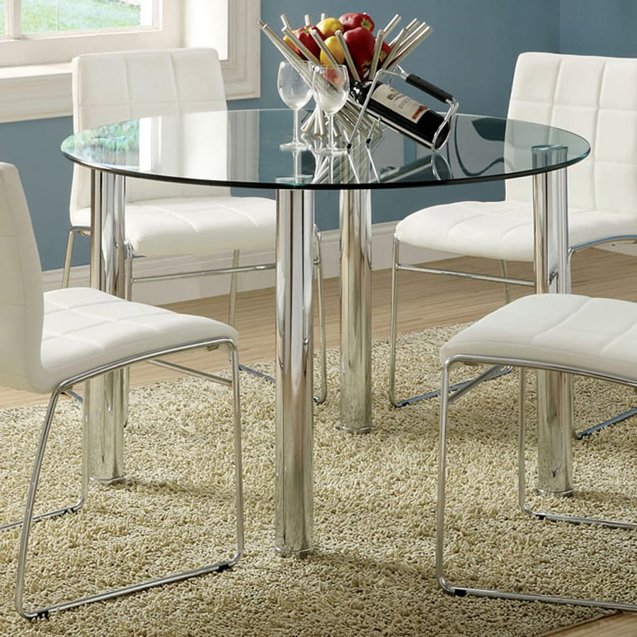 Furniture of America Kona Glass Tempered Glass Round Dining Table