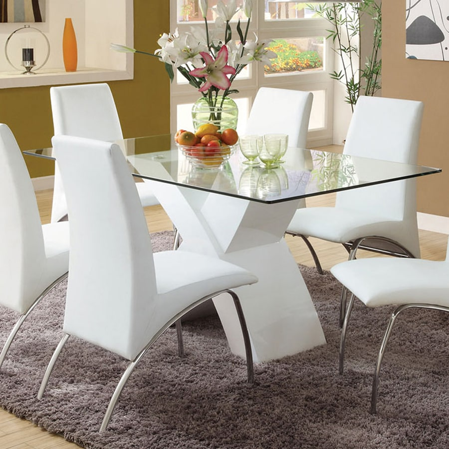 Shop furniture of america wailoa glass tempered glass for Tempered glass dining table
