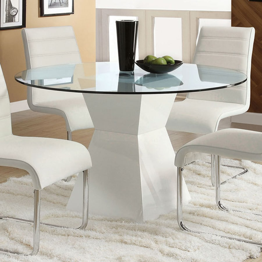 Furniture of America Mauna Tempered Glass Round Dining Table