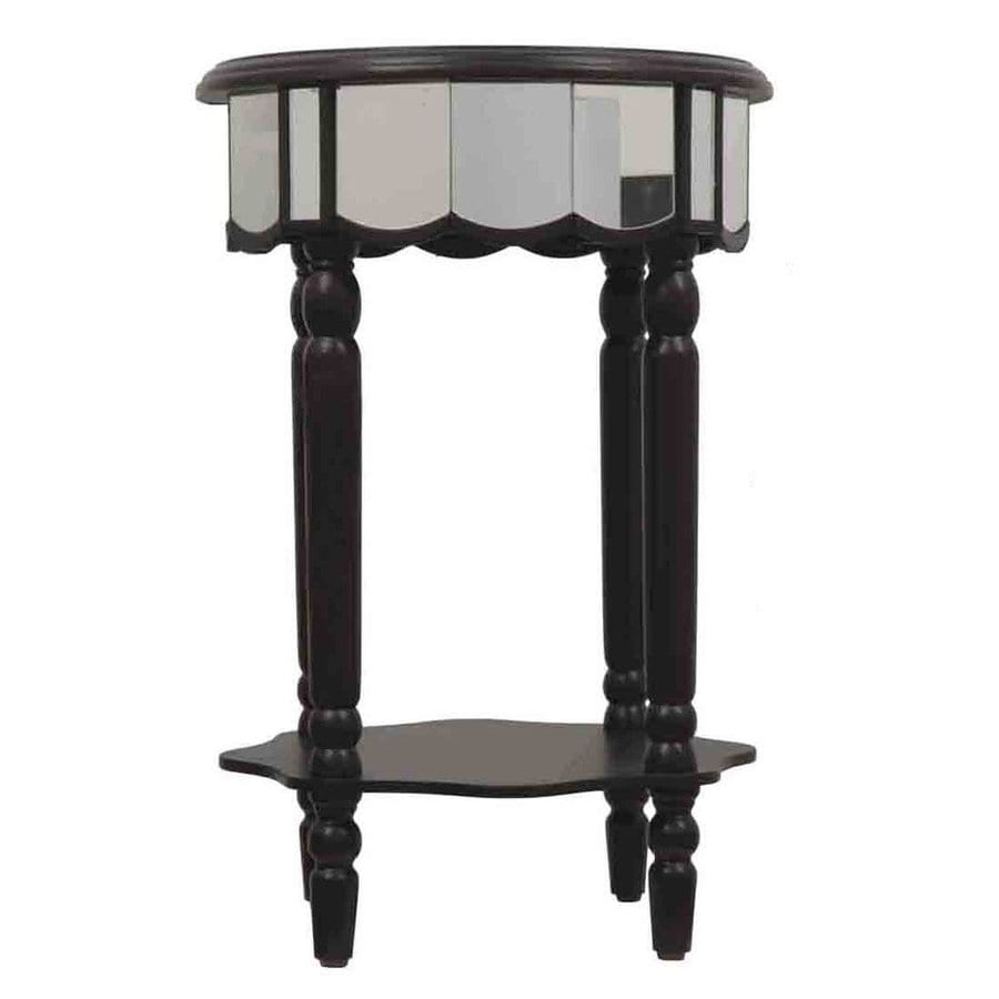 Decor Therapy Black Asian Hardwood Round End Table