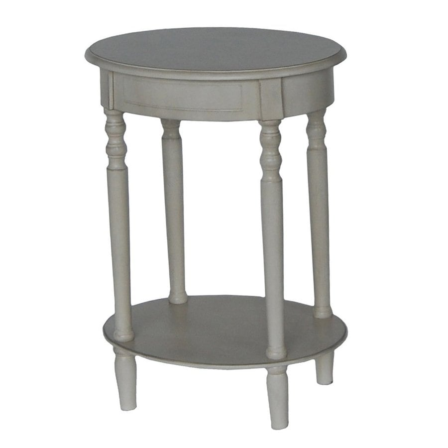 Decor Therapy Simplify Antique White Oak Oval End Table