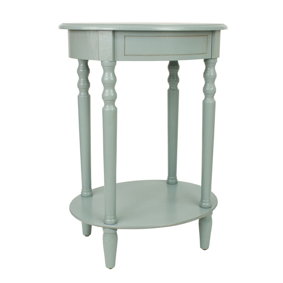 Decor Therapy Simplify Antique Iced Blue Oak Oval End Table