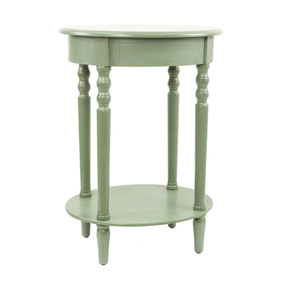 Decor Therapy Simplify Antique Green Oak Oval End Table