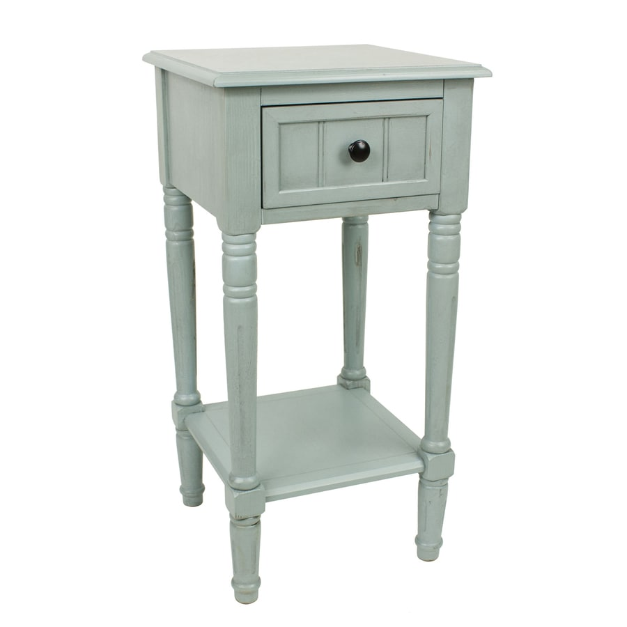 Decor Therapy Simplify Antique Iced Blue Asian Hardwood Square End Table
