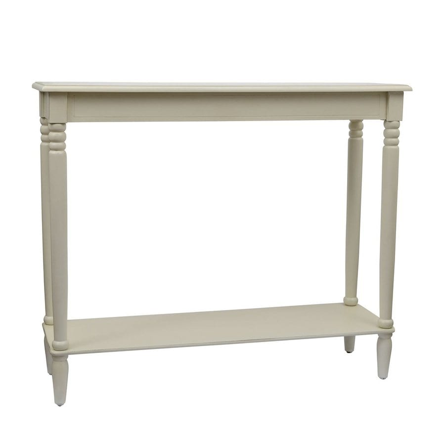Decor Therapy Simplify Antique White Asian Hardwood Rectangular Console Table