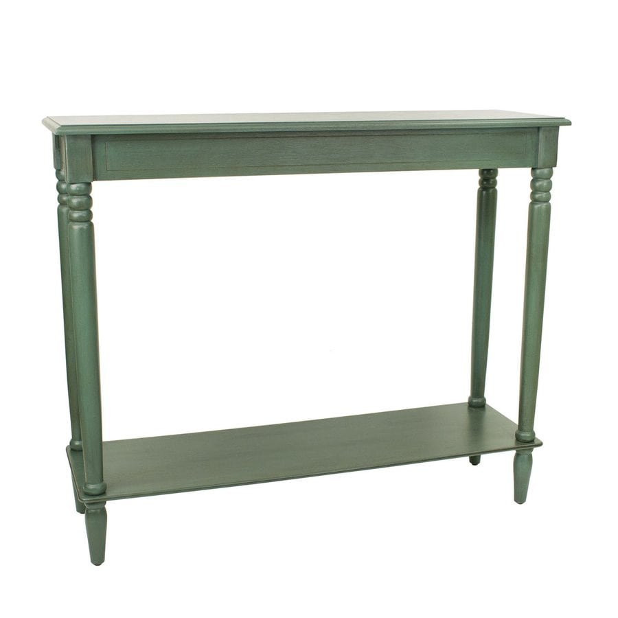 Decor Therapy Simplify Antique Teal Asian Hardwood Rectangular Console and Sofa Table