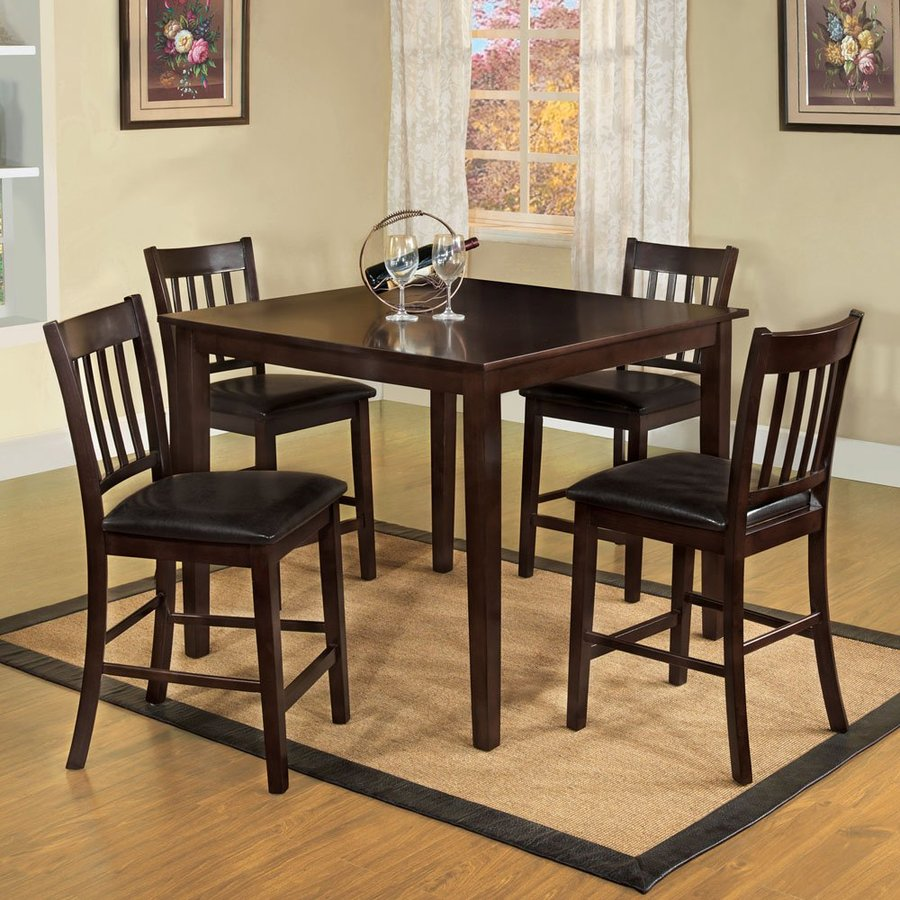 Furniture of America West Creek Espresso Dining Set with Square Counter Table