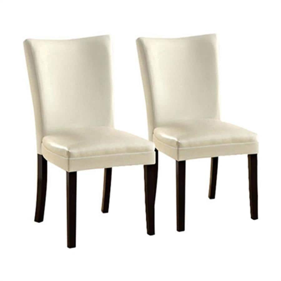 Furniture of America Set of 2 Lamia White Side Chairs